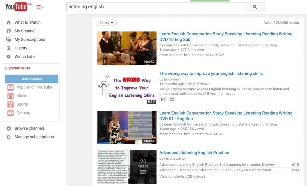 Youtube - nghe tieng anh
