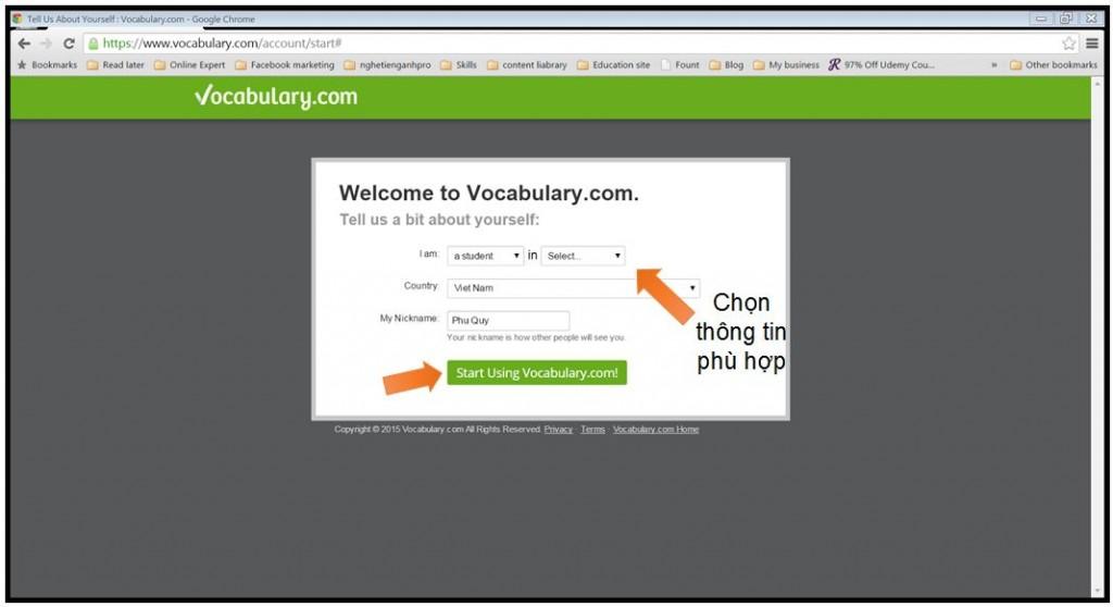 Sign up vocabulary.com 2