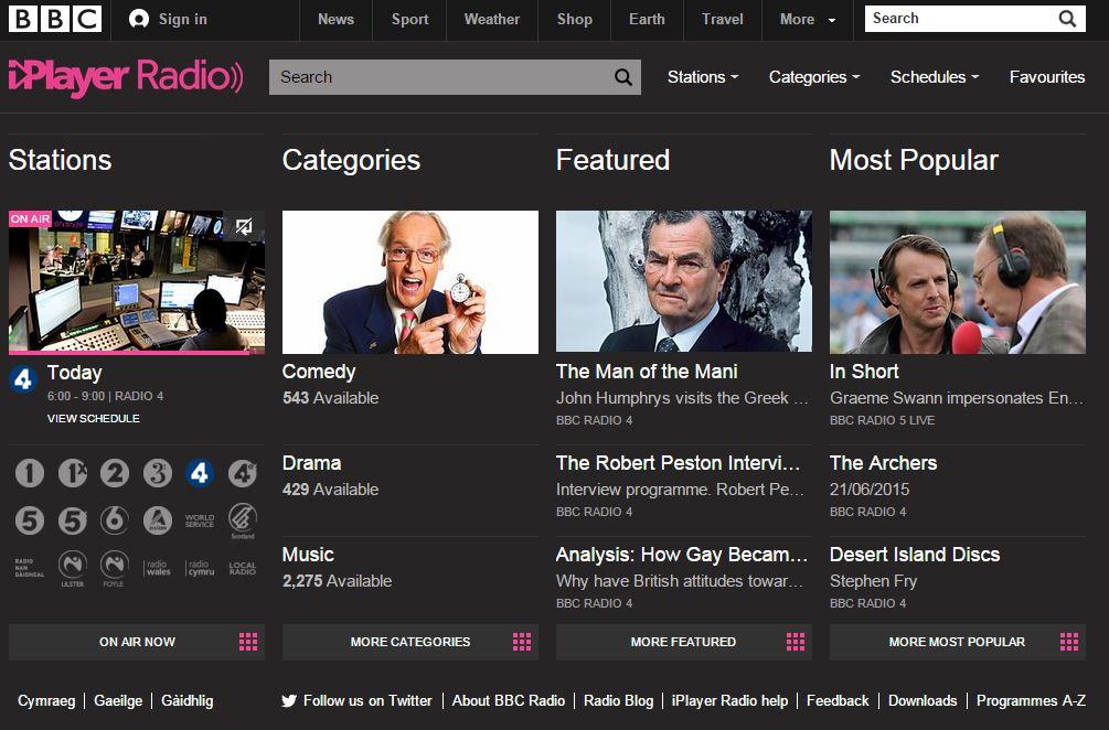 BBC Radio là nguồn nghe thụ động yêu thích của tôi.
