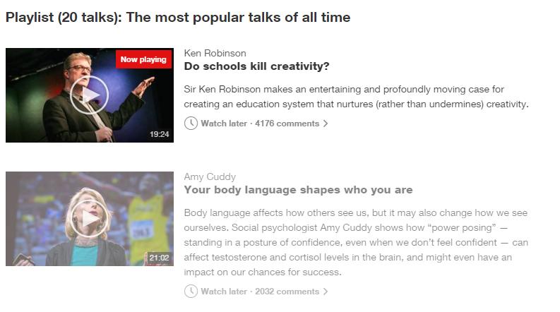 bài nói phổ biến trên TED
