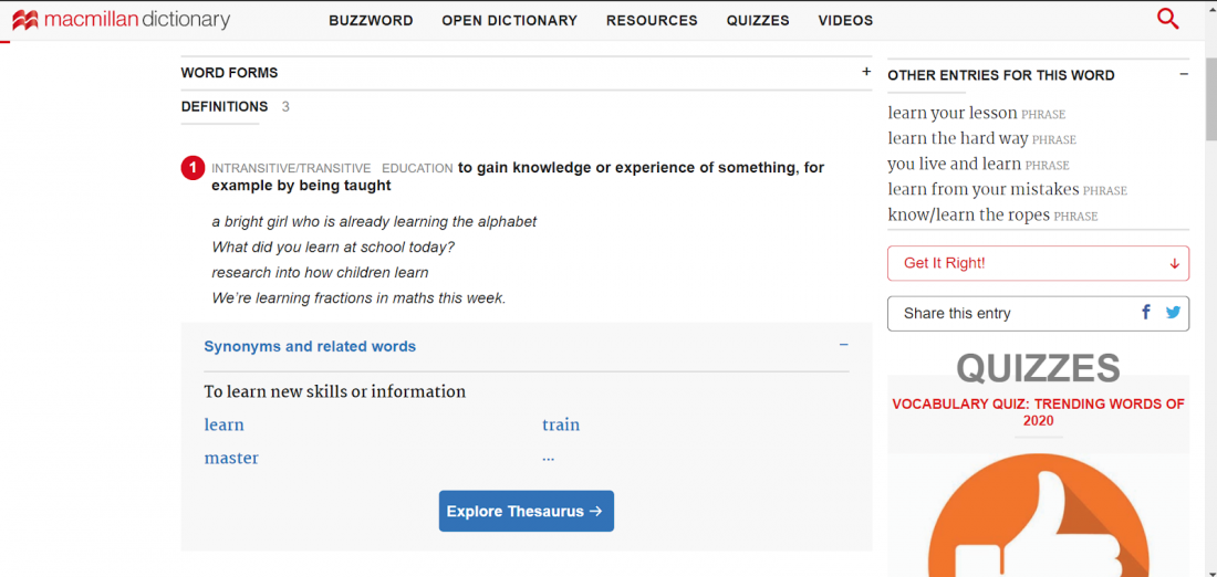 Từ điển Macmillan hỗ trợ học viên học tiếng anh hiệu quả